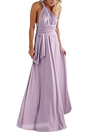 IWEMEK Damen Transformer Abendkleid lang Ballkleid MEHRWEG Wrap wandelbar bodenlang Hochzeit Halfter Maxi Kleid hohe Elastizität - Violett - Klein