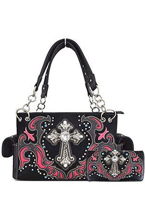 WESTERN ORIGIN Damen Sets - Damenhandtaschen mit Brieftasche im Western-Stil Damen , (Black/Fuchsia Set)