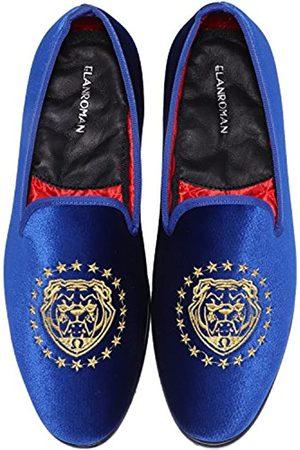 ELANROMAN Loafers für Herren Samt Schuhe der Mode bestickt 1.0 und 2.0 Party Hochzeit Abschlussball Schuhe, Blau (Tigerblau)