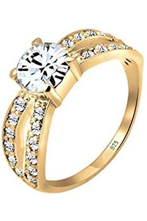 Elli Damen Ringe - Ring Damen Solitär Glamourös mit Kristall in 925 Sterling Silber