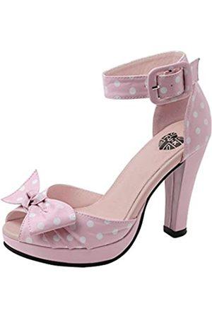 TUK Damen Pumpe mit Punkten, PeepToe Starlet Heels, Pink (rose)