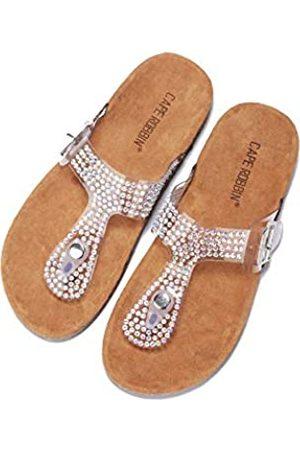 Cape Robbin Alyson T-Strap Sandalen Slides Hausschuhe für Damen, Damen Pantoletten Slip On Hausschuh mit Nieten, Transparent (farblos)