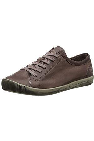 softinos Damen ISLA Washed Leather Sneaker, (Dk Brown 570)