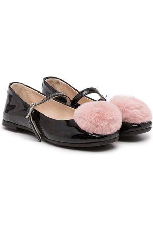 Emporio Armani Kids Mädchen Ballerinas - XXD006XOV05 A155 BLACK+PINK Furs & Skins->Leather