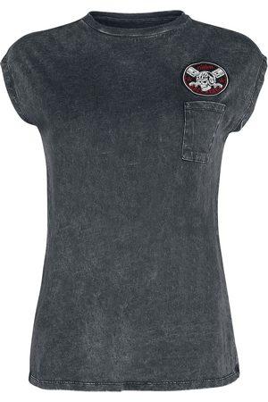 Rock Rebel by EMP Schwarzes T-Shirt mit Rundhalsausschnitt und Waschung T-Shirt