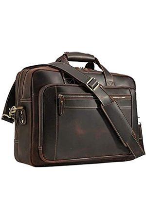 FENRIR Herren Laptop- & Aktentaschen - Genuine Leather Briefcase for Men Vintage 17 Inch Laptop Computer Case Brown Business Messenger Crossbody Shoulder Bags Attache Case