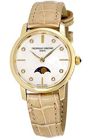 Frederique Constant Damen Uhren - Damen Analog Quartz Uhr mit Leder Armband FC-206MPWD1S5