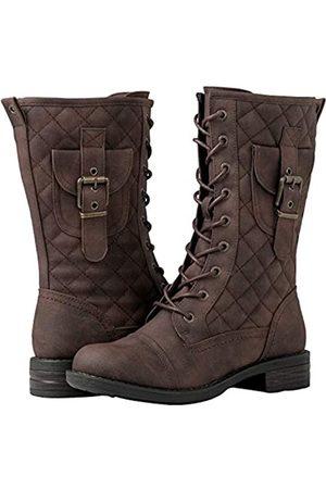 GLOBALWIN Damen Schnürstiefel - Damen Schnürstiefel Miliraty Stil Mode Stiefel, Braun (19yy22braun)