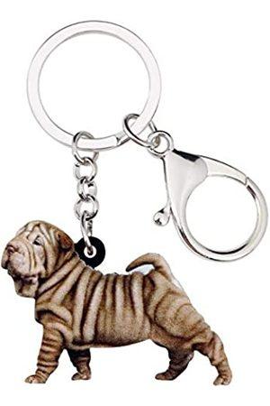 WEVENI JEWELRY WEVENI Schlüsselanhänger, Acryl, Shar Pei, Hund Schlüsselanhänger, Tierschmuck für Frauen und Mädchen, Handtaschen-Accessoire