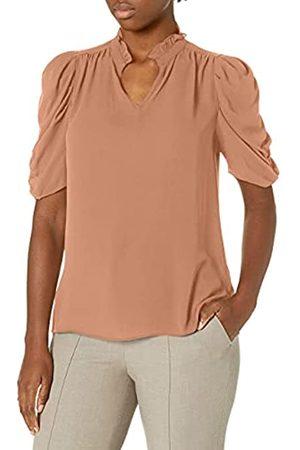 Lark & Ro Amazon-Marke: Damen gewebte Bluse mit halben Rüschenärmeln