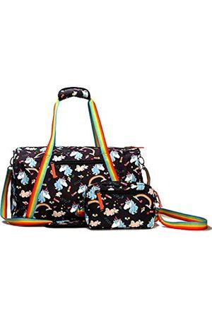 Kemy's Einhorn-Seesack für Frauen, Handgepäck-Tragetasche, 2 Stück, mit süßem Regenbogen
