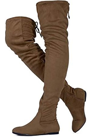 RF ROOM OF FASHION TRENDHI Damen Fashion Comfy Vegan Suede Side Zipper Overknee-Stiefel (Medium Calf), (Taupe Su (63,5 cm Schafthöhe))