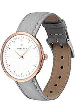 nordgreen Infinity skandinavische Damenuhr in Roségold mit weißem Ziffernblatt und austauschbarem 32mm Leder Armband Raues 10027
