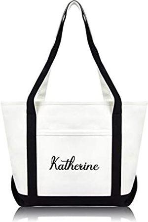 DALIX Damen Einkaufstasche, bestickt, Monogramm-Design, hochwertig