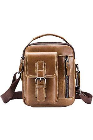 Tippnox Herren Leder Kuriertasche Vintage kleine Schulter-Reisetaschen Casual Crossbody Geldbörse Satchel Handtasche