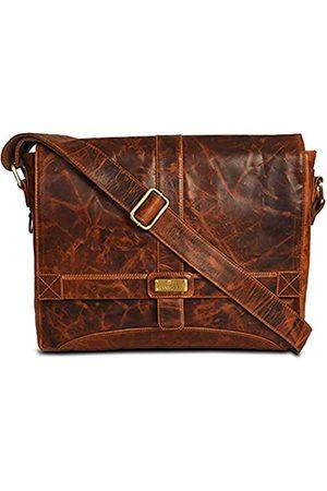 LEVOGUE Umhängetasche für Damen und Herren, echtes Leder, 35,6 cm (14 Zoll) Laptoptasche für College Arbeit Büro, (Vintage Cognac)