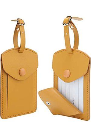 COOLYOUTH Jagucho Gepäckanhänger aus Leder für Damen und Herren, Set mit 2 Stück Gepäcktaschenanhänger / Kofferetiketten mit vollem Sichtschutz für Kreuzfahrtschiffe