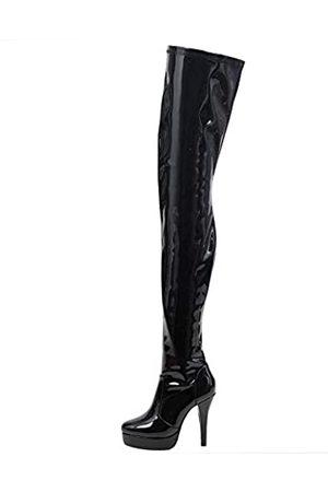 JiaLuoWei Overknee-Stiefel für Damen, 12 cm hohe Absätze, 2 cm hohe Plateau, wasserdichte Damenstiefel, ( glänzend)