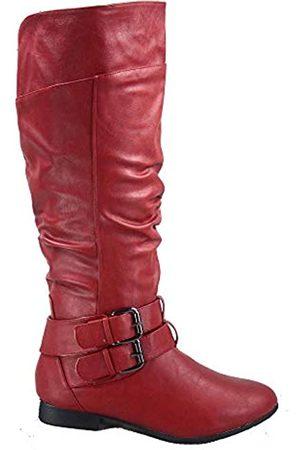 Top Moda Coco-20 Damen-Reitstiefel, runder Zehenbereich, niedriger Absatz, kniehoch, Reißverschluss