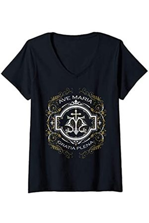 Happy Catholics Damen Ave Maria Schubert Lateinische Messe Jungfrau Maria Gegrüßet T-Shirt mit V-Ausschnitt
