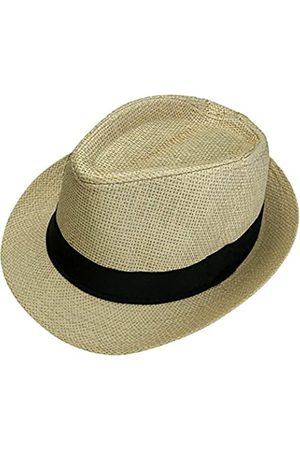 FALETO Unisex Sommer Panama Stroh Fedora Hut Kurze Krempe Strand Sonne Cap Classic - - Einheitsgröße