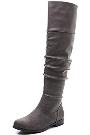 Savaii Damen Stiefel mit rundem Zehenbereich, niedriger Absatz, kniehoch und hoch