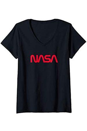 Nasa Damen Worm Logo T-Shirt mit V-Ausschnitt