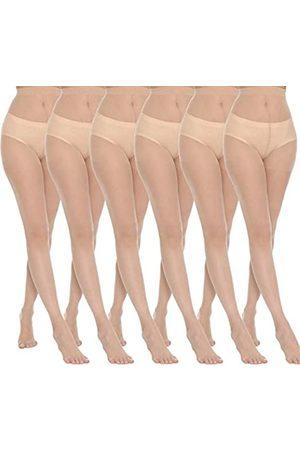 MANZI 6 Paar 20D Damen Sheer Strumpfhose Ultra Dünn Hohe Taille Strumpfhose Oberschenkel Hohe Strümpfe - - Medium