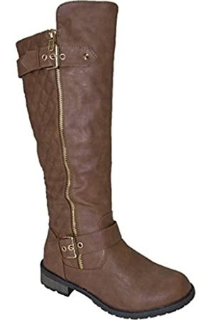 FOREVER Mango-21 Women Fashion Zipper Quilted Buckle Knee High Boots Tan 6 US