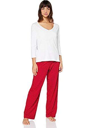 IRIS & LILLY Amazon-Marke: Damen Pyjama-Set aus Baumwolle, Mehrfarbig ( & Weiß), XS