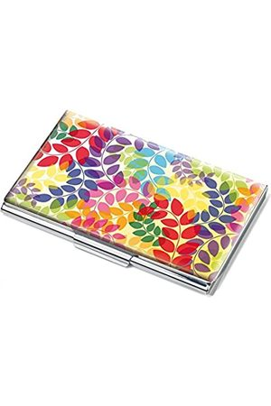 Troika Visitenkartenetui, Motiv: Colourful Leaves, flach, für ca.11 Karten, Metall, verchromt