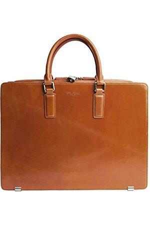 Dom Teporna Italy Aktentasche aus genarbtem italienischem Leder für Herren, Business-Tasche, entworfen in Japan, Braun (Dunkelbraun)