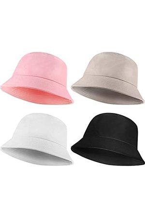 Geyoga 4 Stücke Baumwolle Eimer Hut Faltbare Eimer Kappe für Männer Frauen Outdoor Reise Strand
