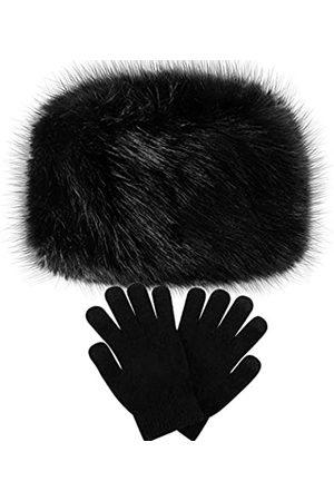 SATINIOR Damen Winter Kunstfell Hut Kosak Russischer Stil Warme Mütze mit Wollhandschuhen