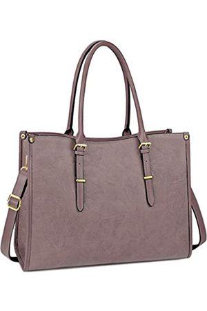 NUBILY Laptoptasche für Damen, 39,6 cm (15,6 Zoll), wasserdicht, leicht, Leder, für professionelle Arbeit, Arbeit, Aktentasche, große Computertasche, Schultertasche