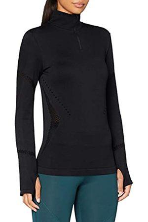 AURIQUE Damen Langärmeliges Lauftop mit Reißverschluss (Black), 36