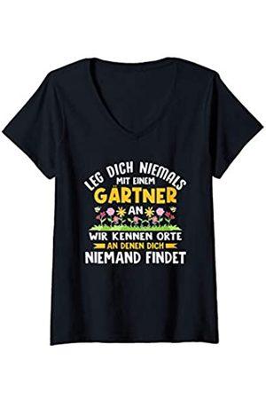 26 Rd Londonshirts Apparel Damen Leg dich niemals mit einem Gärtner an Lustiger Spruch Garten T-Shirt mit V-Ausschnitt