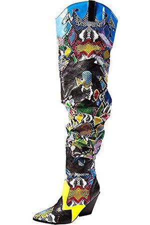 Cape Robbin Hilda Cowboystiefel Damen, Overknee, Western Cowgirl-Stiefel mit klobigem Blockabsatz, Mehrere (multi)