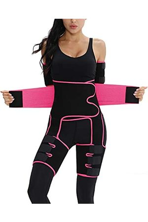 siliteelon Plus Size Elastic Exercising Waist Trainer Slimming Sweat Girdle Workout Belt Body Shaper Band S-7XL(Pink