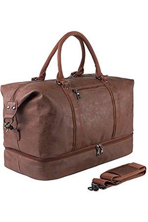 seyfocnia Reisetasche für Übernachtungen, Segeltuch-Leder, übergroße Wochenendtasche, große Handgepäcktasche