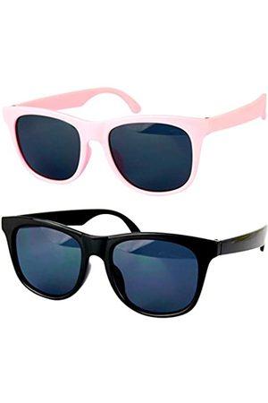 Style Vault Kd3006 Sonnenbrille für Babys und Kleinkinder, Alter 0-36 Monate, Retro-80er-Jahre, 0-2 Jahre, Pink (Pack of 2(black+pink))