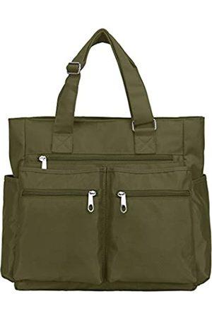 VOLGANIK ROCK Canvas Tote Bag Wasserdichte Nylon Multi Pocket Schultertaschen Laptop Arbeitstasche Lehrer Geldbörse und Handtaschen für Damen & Herren, (armee- )