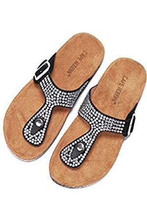 Cape Robbin Alyson T-Strap Sandalen Slides Hausschuhe für Damen, Damen Pantoletten Slip On Hausschuh mit Nieten