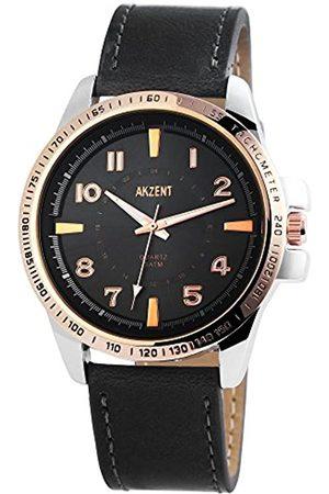 Akzent Herren Analog Quarz Uhr mit Leder Armband SS7541500010