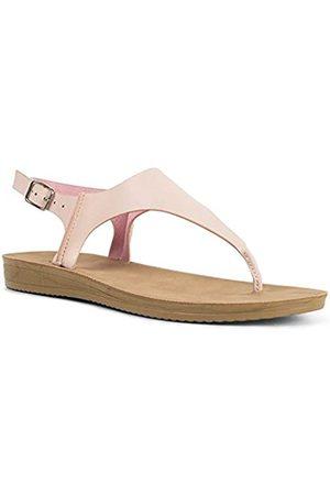 Qupid Flex Sandalen für Frauen – Knöchelriemen, offene Zehenpartie, leger, Keilabsatz, Zehensandale, Rot (Blush PU)