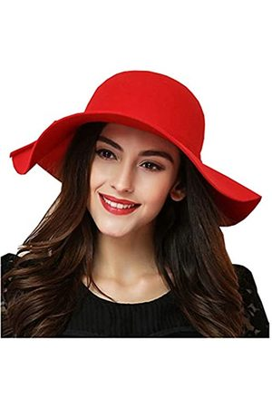 ASSQI Damen Bowler Hut aus 100% Wolle, faltbar, breite Krempe, Retro-Fedora