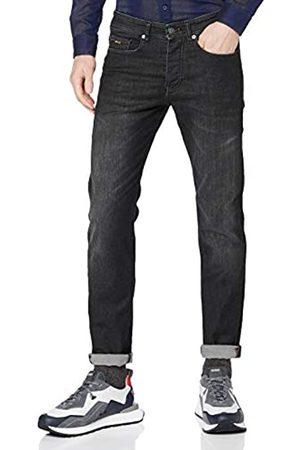 HUGO BOSS Herren Taber BC-P Schwarze Tapered-Fit Jeans aus Super-Stretch-Denim mit irisierenden Details