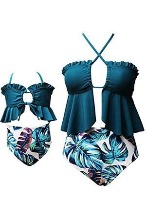 HEZIOWYUN Familien-passende Bademode, zweiteiliges Bikini-Set für Mutter und Tochter, Strand, Neckholder, Rüschen, Tankini