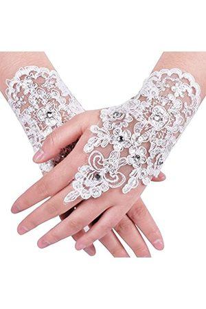 MisShow Spitze Fingerlose Strass Braut Handschuhe für Hochzeit Party - - Einheitsgröße