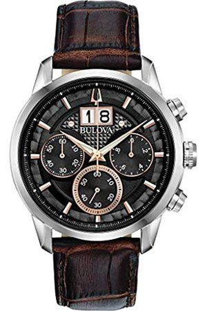 BULOVA Herren Analog Quarz Uhr mit Leder Armband 96B311